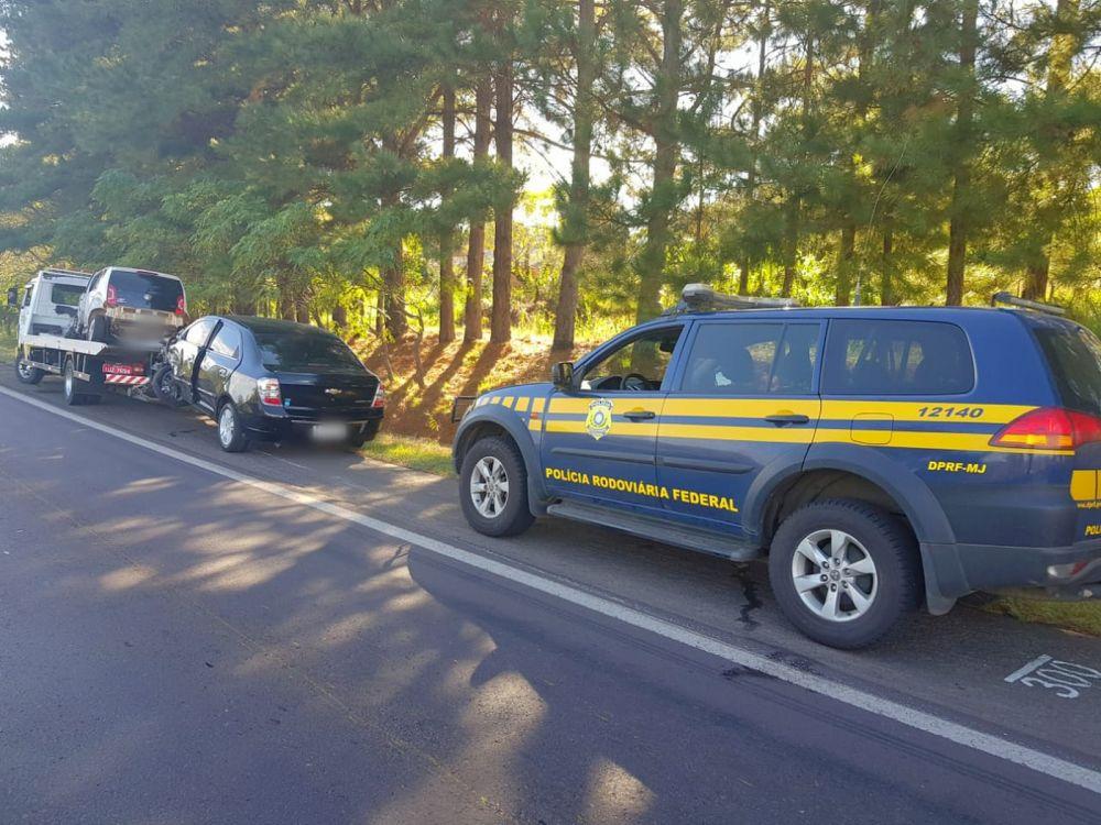 Quatro pessoas ficaram feridas em acidente envolvendo quatro veículos na BR-386. — Foto: Polícia Rodoviária Federal/Divulgação