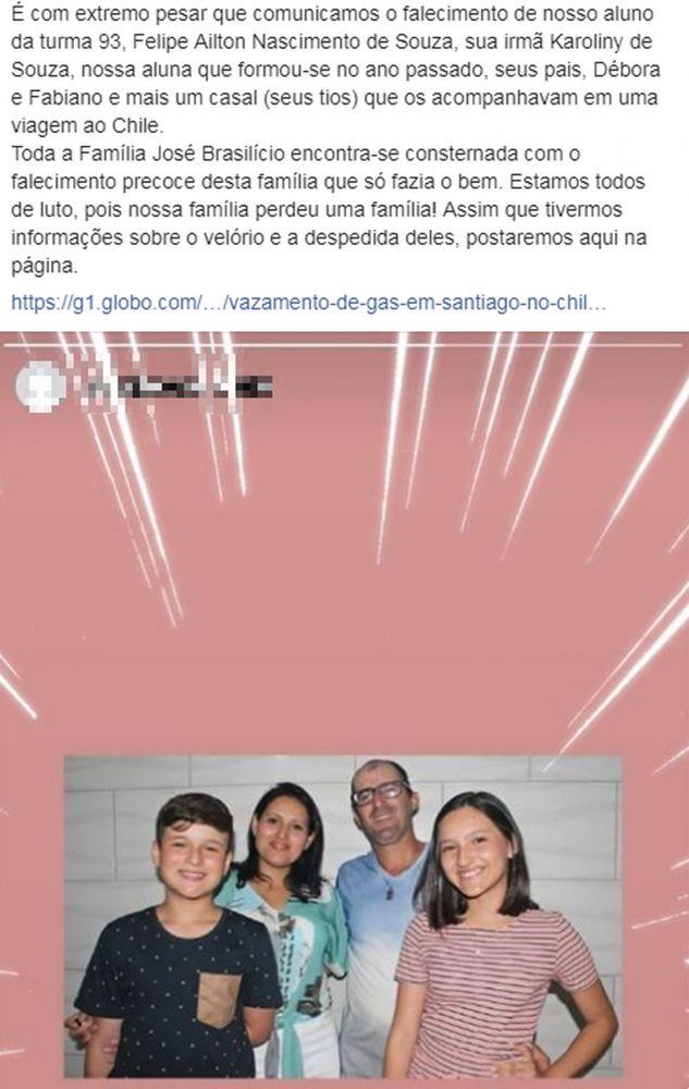 Escola lamentou a morte da família nas redes sociais — Foto: Reprodução