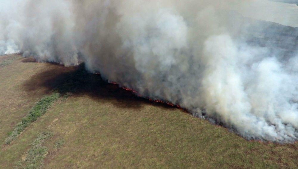 De acordo com a Defesa Civil, tempo seco e fortes ventos fazem com que o incêndio se espalhe rapidamente. — Foto: Divulgação/ICMBio