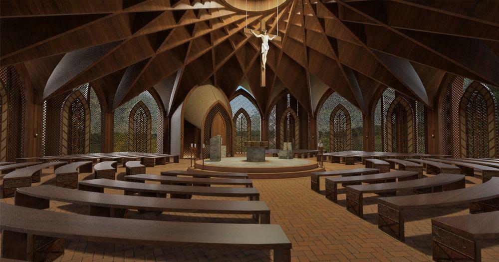Igreja será circular, com 32 metros de diâmetro, 25 metros de altura — Foto: Divulgação/Creatos Arquitetura
