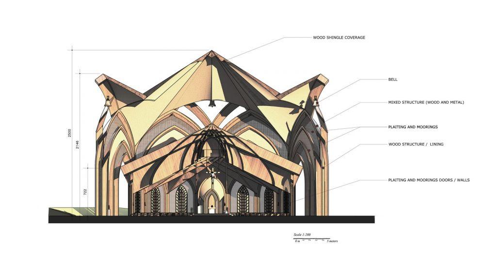 Arquitetos paranaenses fazem projeto para construção da primeira igreja indígena Yanomami do Brasil, na Amazônia — Foto: Divulgação/Creatos Arquitetura