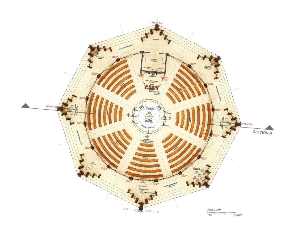 Arquitetos paranaenses fazem projeto para construção da primeira igreja indígena financiada pelo Vaticano no Brasil — Foto: Divulgação/Creatos Arquitetura