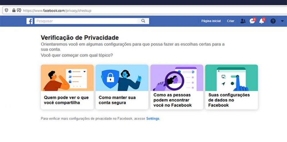 O Facebook oferece guias e opções de customização para usuários que desejam bloquear o compartilhamento de dados sensíveis. - Agência Brasil