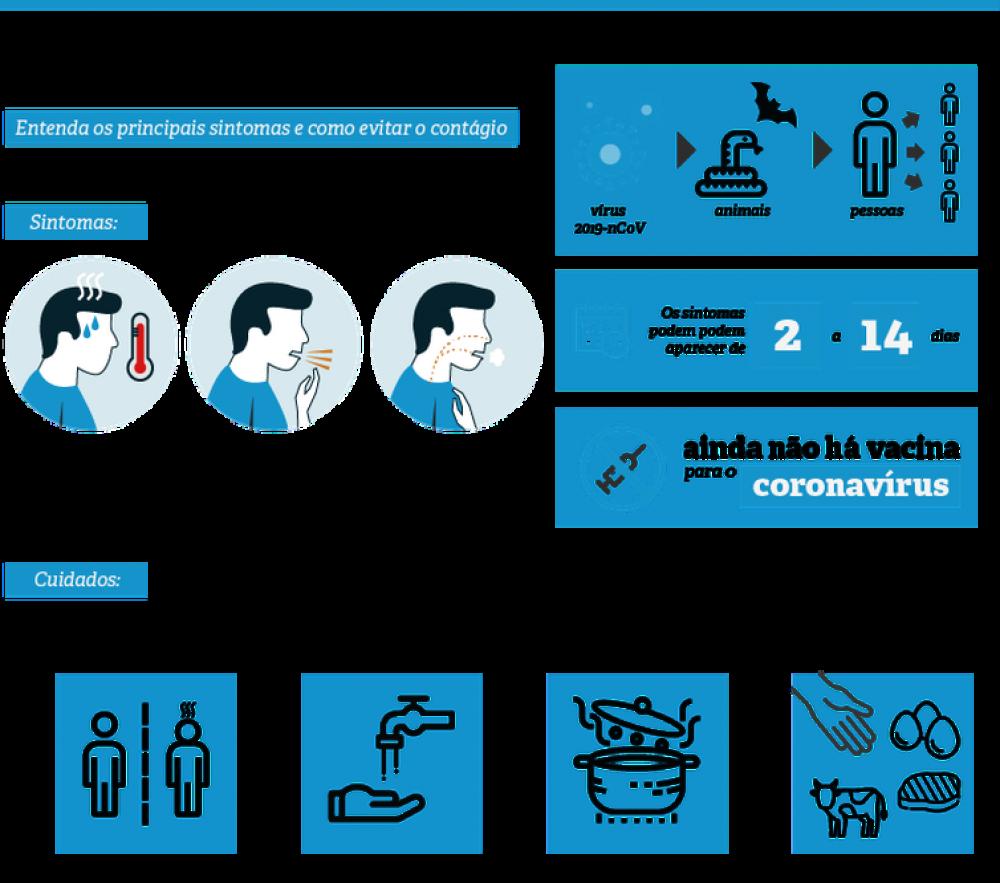 Confira os principais sintomas e os cuidados para evitar o coronavírus - Arte/Agência Brasil