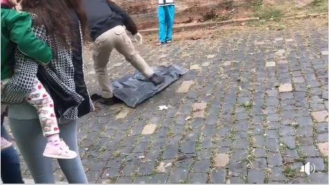 O detalhe é que cachorros de rua o encontraram e passaram a devorá-lo. População de cidade de região está perplexa Foto: Reprodução