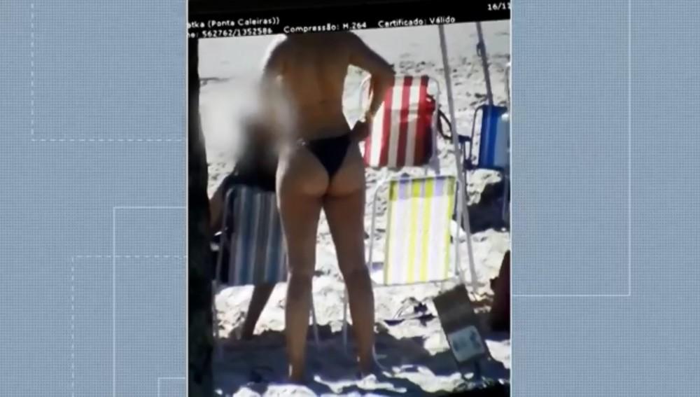 Prefeitura de Guaratuba informou que vai investigar servidores que aproximavam imagens de câmeras para ver mulheres na praia — Foto: Câmeras de segurança