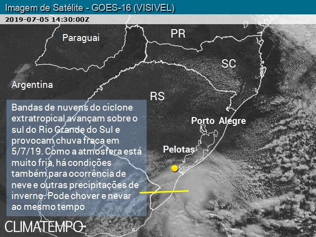 Nebulosidade de ciclone extratropical avança sobre o sul do RS em 5/7/19