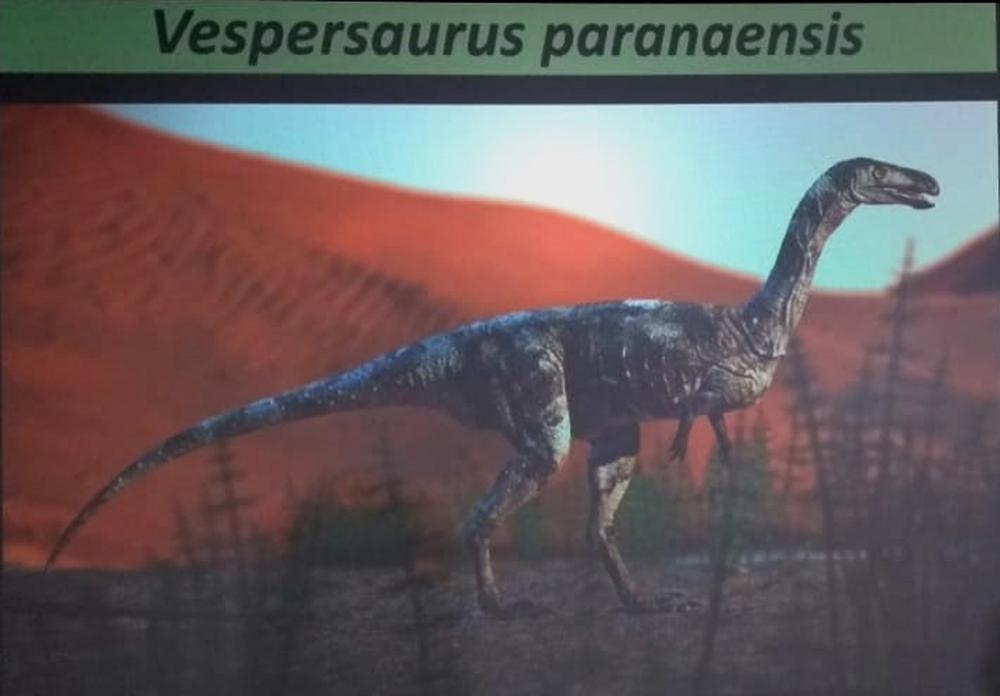 Pesquisadores deram o nome de Vespersaurus paranaensis a nova espécie de dinossauro descoberta — Foto: Eduardo Cavalari/RPC