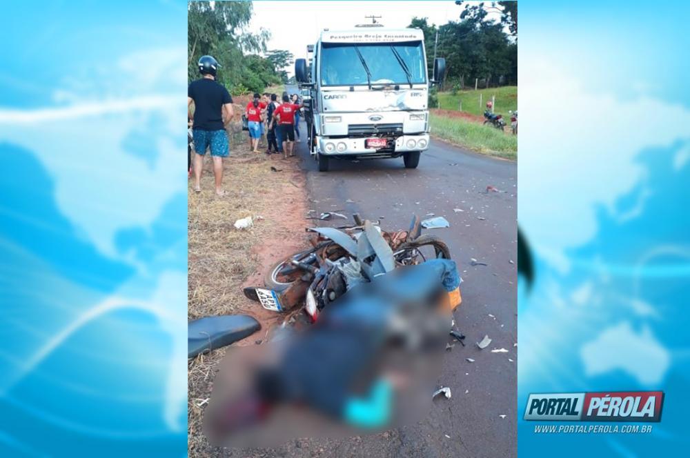 Homem perde a vida após colidir moto frontalmente com caminhão em Altônia