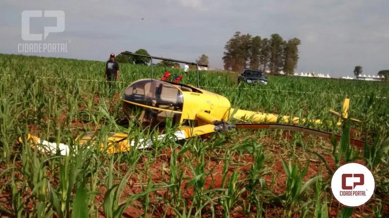 Helicóptero que fazia voos panorâmicos durante festa do frango cai em Quarto Centenário