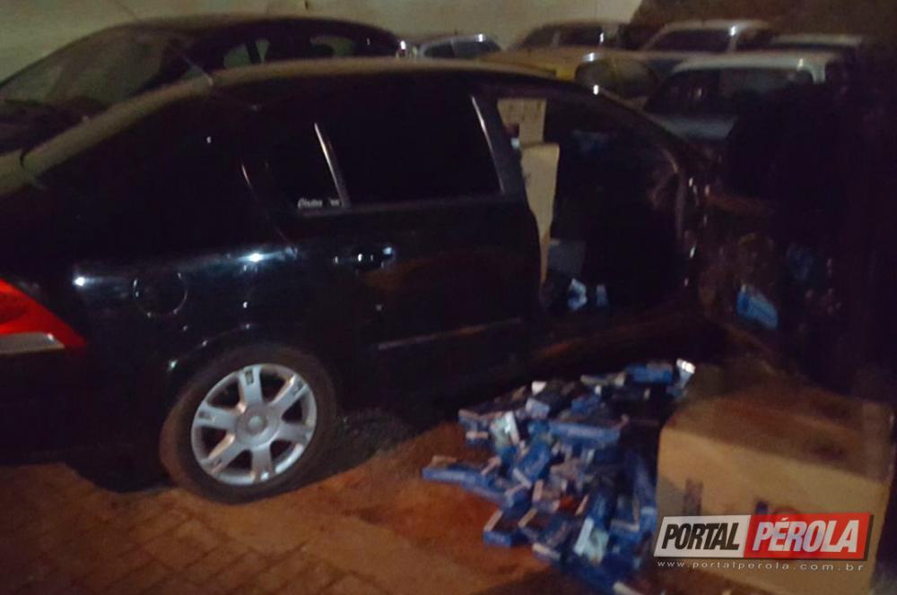 Policia Militar de Pérola apreende veículo carregado com cigarros do paraguai