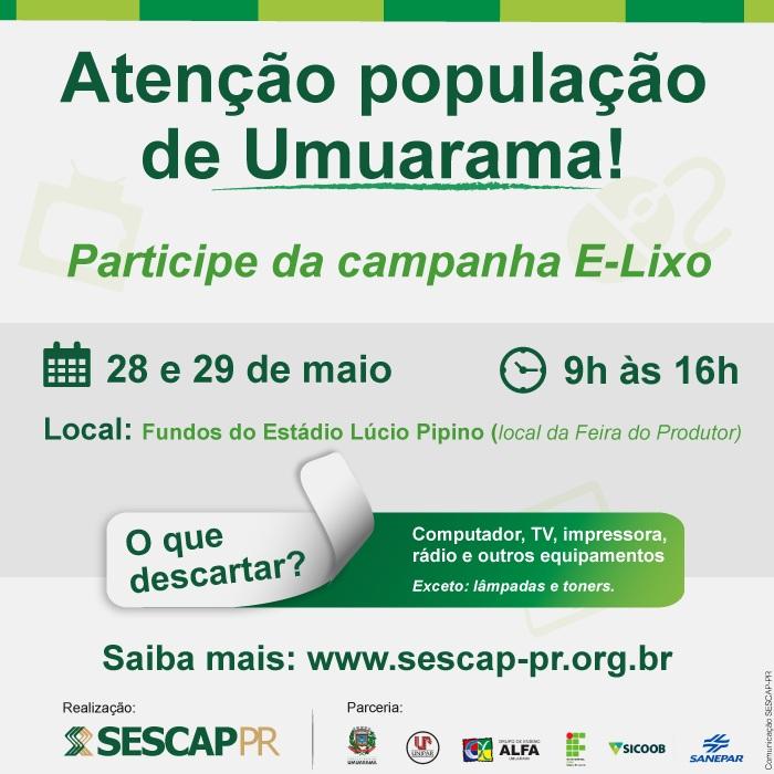 Campanha recolherá lixo eletrônico em Umuarama nos dias 28 e 29
