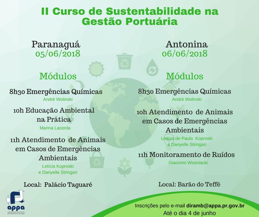 Appa promove segunda edição do curso Sustentabilidade na Gestão Portuária