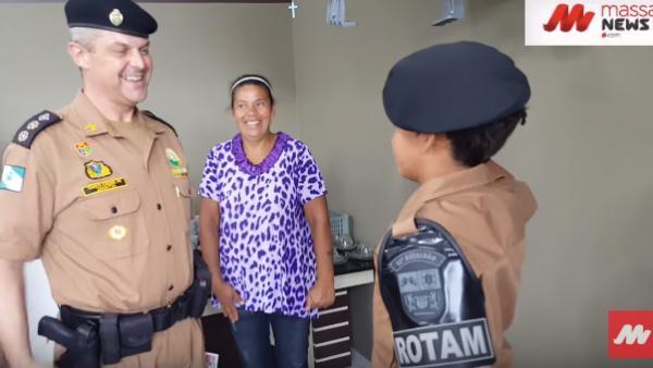 ROTAM faz surpresa para menino que sonha ser policial em Curitiba